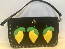 Lulu Guinness UK Black Handbag Appliqued Lemons Removable Strap