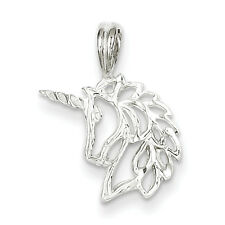 925 Sterling Silver Unicorn Polished & Solid Charm Pendant 20mmx15mm