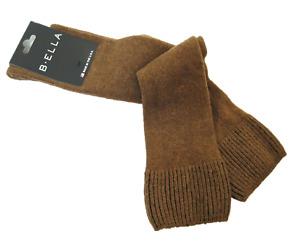 B. Ella Ladies Wool Cashmere Angora Blend Knee Socks Bette Brown - NEW