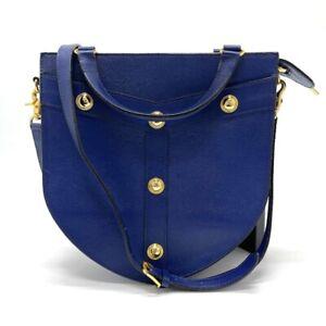 VERSACE Vintage 2WAY Hand Bag  Shoulder Bag Leather Blue x Gold