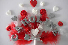 Flower feather birthday cake topper, garden, roses, hearts, any name and age