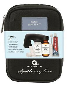 Mens Apothecary Care Travel Kit ~ Travel Pillow, Body Wash, Compressed Towels