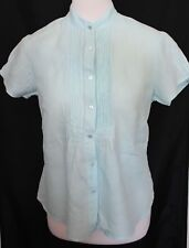 GANT ~ Pale Aqua Blue Short Sleeve Linen Blouse Shirt US 10 Aus 12