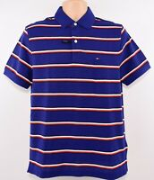 TOMMY HILFIGER Men's PERFORMANCE Striped Polo Shirt, Royal Blue size MEDIUM