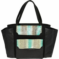 Authentic BARABOUX Black & Turquoise Leather & Canvas Tote Bag - rrp £775