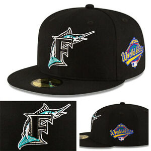 New Era MLB Florida Marlins Classic Black Fitted Hat World Series Side Patch Cap
