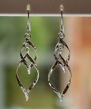 Sterling Silver 925 Diamond Cut Double Large Hoop Drop Earrings