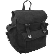 Highlander Large Pocketed Web Backpack Vintage Cotton Canvas Army Rucksack Black