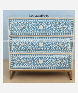 Bone Inlay Flower Design 3 Drawer Dresser Sideboard