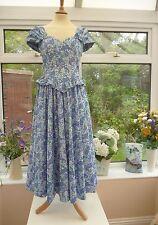 STUNNING VINTAGE LAURA ASHLEY PURPLE & BLUE FRILL & BOWS FLORAL SUMMER DRESS 10