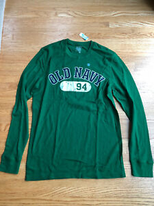 Old Navy Mens Large Green Waffle Knit Crew Neck Long Sleeve Tee Shirt NWT