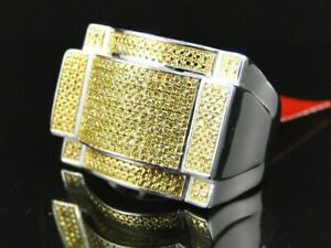 0.75 Ct Round Yellow Sim Diamond Men's Cluster Pinky Ring 14k White Gold Plated