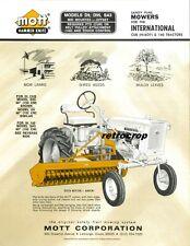 Mott Hammer Knife Mid Mount Mower Sales Brochure Ih Farmall Cub 140 D9 D95 Sa5