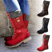 Women Leather Warm Snow Boots Combat Rain Shoes Winter Mid Calf Lace Up Boots