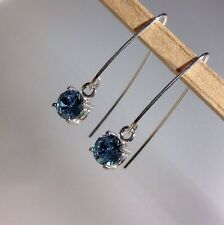 Sterling Silver Swarovski Crystal Elements Dangle V Hook Earrings AQUAMARINE