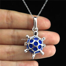 K-42 Silver Essential Oils Bead Cage Sea Turtle Locket Necklace Stainless Chain