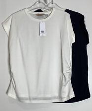 Dorothy Perkins 2 PK Mutterschaft Marineblau & Elfenbein Baumwolle Jersey T-Shirt Tops Größe 12