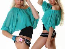 Sexy Damen Chiffon Bluse Shirt Fledermaus Pump 34/36/38 NEU TOP schwarz/smaragd