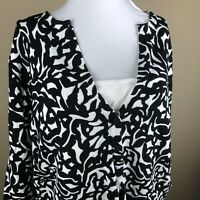 Coldwater Creek Women's 3/4 Sleeve Sweater Plus Size 1X Black White, Abstract