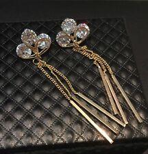 14K Gold Plated Trendy Tassel Fringe Earrings made w/ Swarovski Crystal Stone