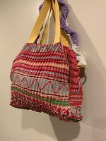 Tricia Fix Day Tripper Embroidered Tote Pleated Bag Red Green NEW
