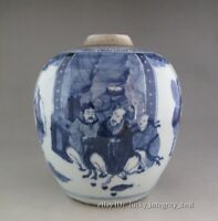 Chinese Old Blue and White Character Story Porcelain Jar Vase tank Pot