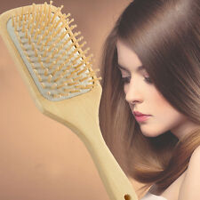 Natural Wood Paddle Brush Wooden Hair Care Spa Massage Comb Anti-static Comb Pop
