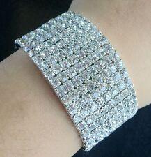 Wedding Bridal clear Crystal Rhinestone 8 Rows Elastic Bangle Bracelet Wristband