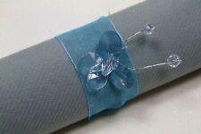 Rond de serviette papillon x 6 turquoise. Décoration de mariage
