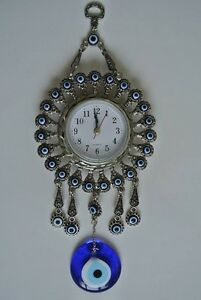Turkish Nazar Glass Evil Eye Wall Clock Hanging Charm &Home Decor 6.5cm / 23cm