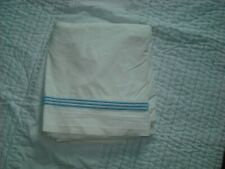 Pottery Barn Queen Flat Sheet Cotton Percale White w/ Blue Embroidered Stripes