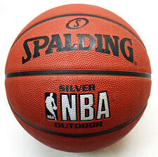 SPALDING SILVER NBA OUTDOOR BASKETBALL BALL SIZE 7 NEW !