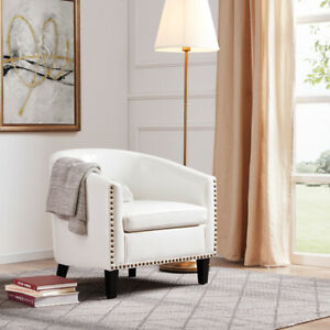 Modern Home Upholstered Tub Barrel Accent Chair Faux Leather Nailhead, White