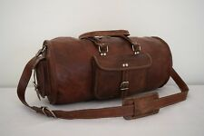 "19"" Brown Leather Duffle Barrel Bag Sports Gym Yoga Bag Overnight Travel Luggage"