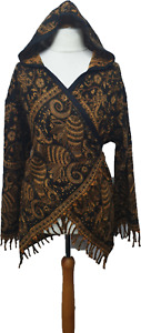 Hooded Crossover Wrap Jacket Cardigan Paisley Hippie Boho Festival 10 12 14 16