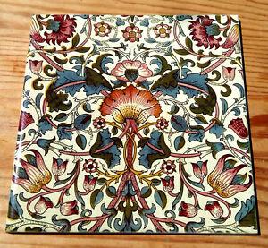 """William Morris """"Lodden"""" ceramic tile (12 designs, 15 x 15cm)"""