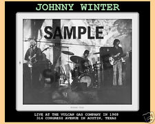 JOHNNY WINTER  1968 VULCAN GAS CO, TEXAS 8 BY 10 + TICKET & 4 BY 6 SEE info L.E.