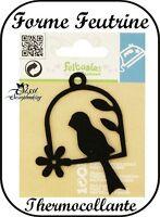 Badge Patch Felt Black Bird Perch Thermal Adhesive Sticker Scrapbooking