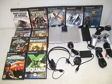 SONY PLAYSTATION 2 PS2 SLIM SILVER HEADSET 11 GAMES BUNDLE LOT