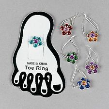FLOWER TOE RING ASSORTMENT (LOT OF 12 6 DIFFERENT COLORS) NEW SEALED