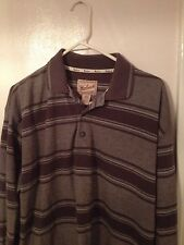 Woolrich Men's Size L Large Long Sleeve Polo Shirt Brown Striped