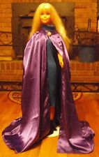 Purple Satin Long Cape with Rhinestones for Child, Teen or Small Adult FSGC36