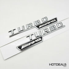 Set Genuine OEM AMG Turbo Logo Car Sticker Fender Side Marker Emblem Badge