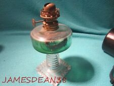Vintage Ringed Pedestal Clear Crystal Glass Miniature Oil Lamp