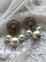 Clip On Earrings 1980s Faux Pearl Gold Coloured Metal Vintage Drop Dangle Retro