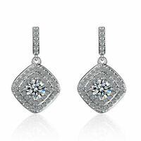 Womens Ladies 925 Sterling Silver Cushion Gemstone Zircon Ear Stud Drop Earrings