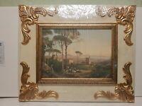 quadro CLASSICO con cornice AVORIO barocca in legno FOGLIA ORO CON FREGI 51x61