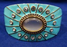 Real Collectibles by Adrienne Turquoise Crystals Hinged Bangle Bracelet