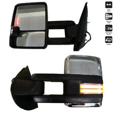 For 07-13 Silverado Sierra Power Heated Dynamic Turn Lamp Chrome Towing Mirrors