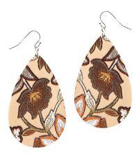Flower Pattern Fabric Teardrop Earring Drop Dangle